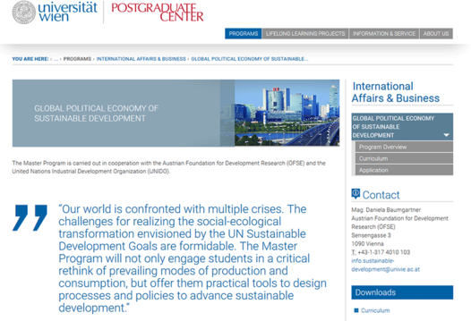 "Postgradualer Masterstudiengang ""Global Political Economy of Sustainable Development"""